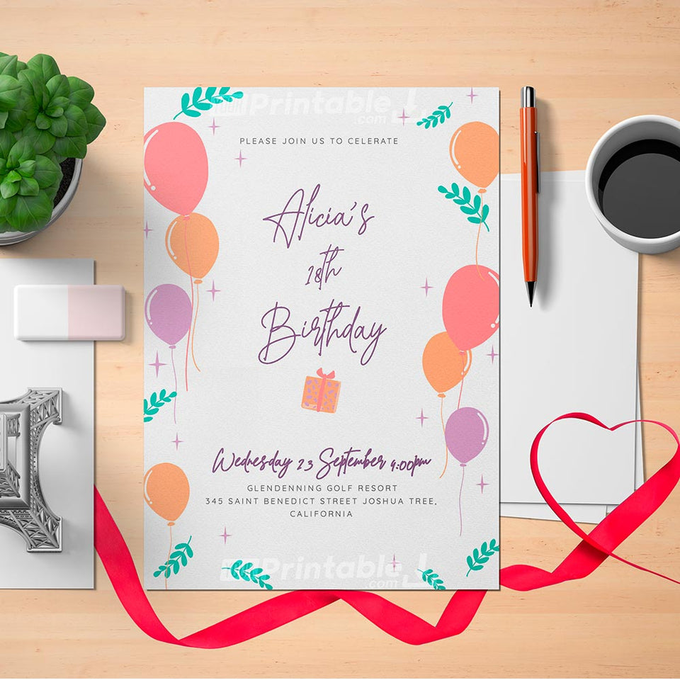 Printable Colored Balloons Birthday Invitation Card - Digital Download