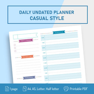 Undated Daily Planner Template Casual Style - Digital  Download