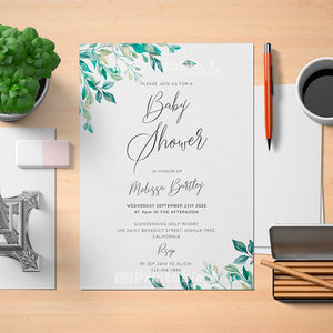 Green Leaves Baby Shower Invitation Template - Digital Download