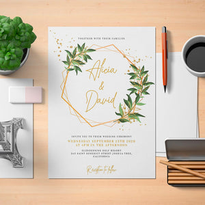 Printable Greenery Geometric Wedding Invitation Template - Digital Download