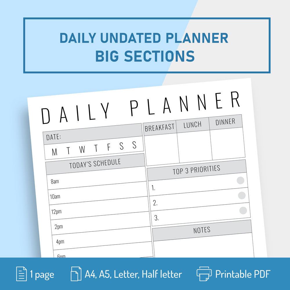 Undated Daily Planner with Big Section for Notes - Digital Download