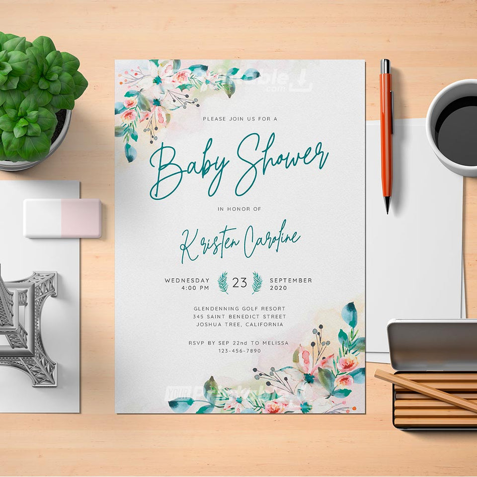 Botanical Watercolor Baby Shower Invitation Template - Digital Download