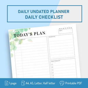 Undated Planner Template with Daily Checklist - Digital Download