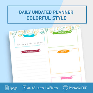 Undated Colorful Daily Planner Template - Digital Download