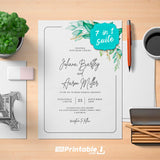 Printable Elegant Greenery Boho Wedding Invitation Suite - Digital Download Template