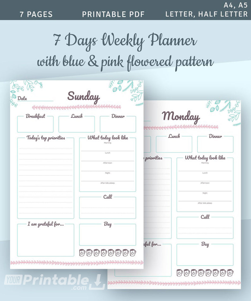 7 Days Weekly Planner Template - Digital Download PDF
