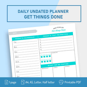 Daily Hourly Planner Template Get Things Done - Digital Download