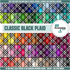 100 Digital Checkered Papers with rainbow. All colors