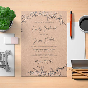 Printable Elegant Rustic Wedding Invitation - Digital Download Template