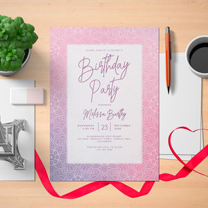Printable Mandala Ornament Women's Birthday Invitation Card - Digital Download