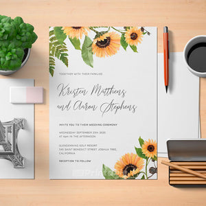 Printable Sunflower Rustic Wedding Invitation - Digital Download Template