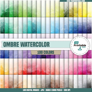 Watercolor 100 Digital Papers Ombre - Instant Download