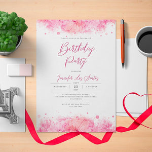 Printable Hibiscus Women's Birthday Invitation Card - Digital Download