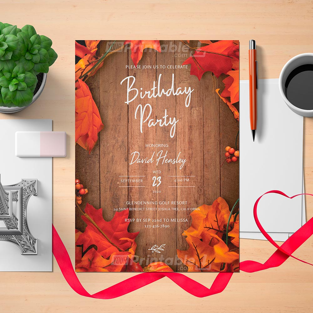 Printable Fall Rustic Mens Birthday Invitation Card - Digital Download