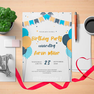 Printable Flag Garland and Balloons Birthday Invitation Card - Digital Download