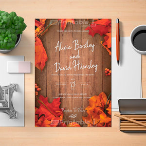 Printable Fall Rustic Wedding Invitation- Digital Download Template