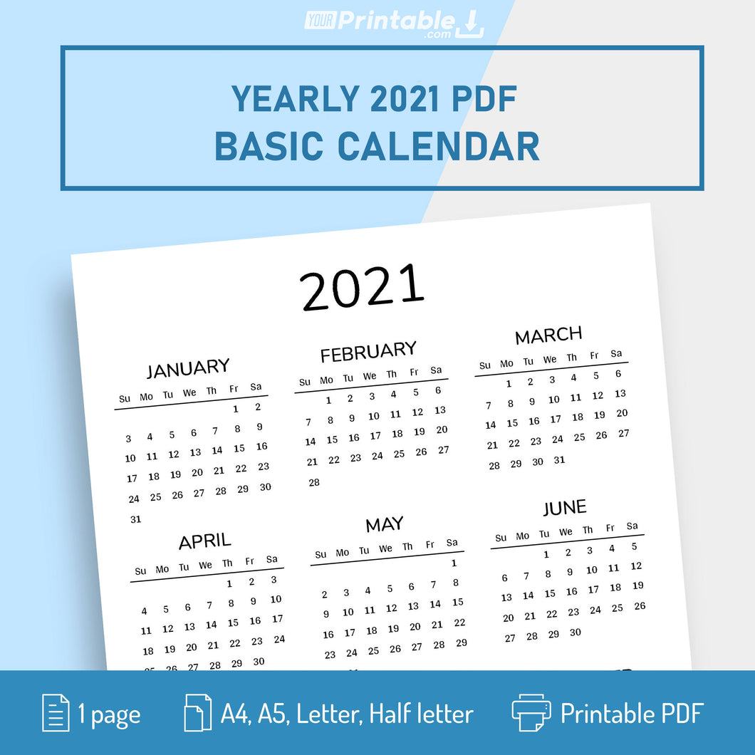 Printable Basic 2021 Yearly Calendar PDF (A4, A5, Letter, Half Letter, Filofax)  Editable - Digital Download