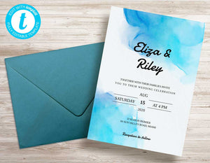 Beautiful Watercolor Wedding Invitation Template - Digital Download
