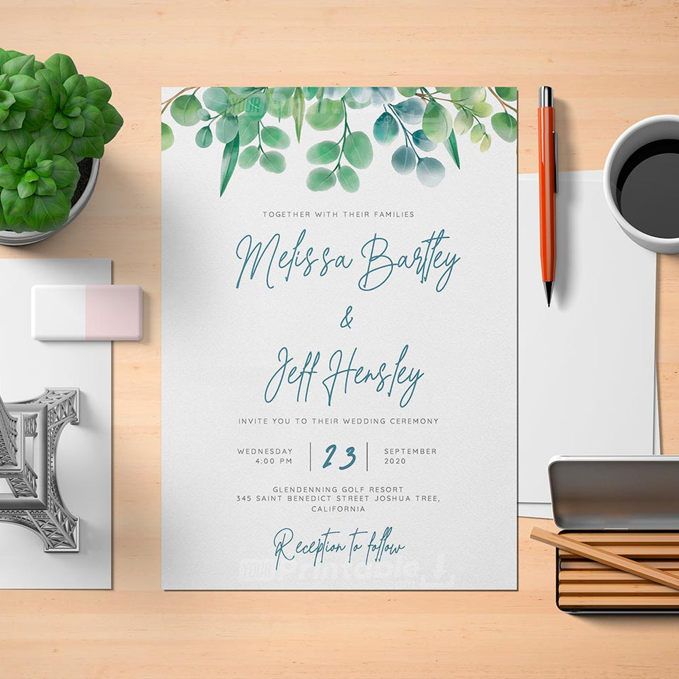 Printable Elegant Eucalyptus Wedding Invitation - Digital Download Template