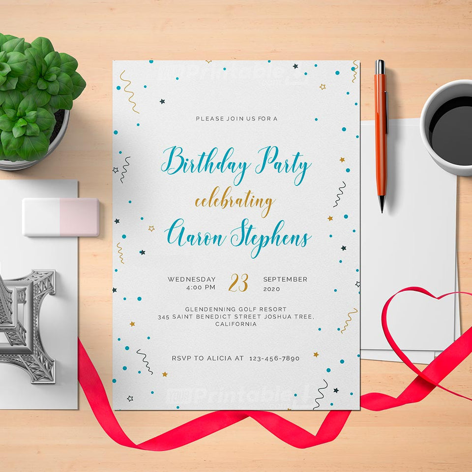 Printable Confetti Birthday Invitation Card - Digital Download