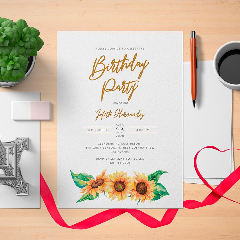 Printable Sunflower Womens Birthday Invitation Card - Digital Download
