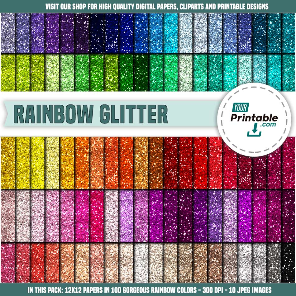 100 Glitter Digital Paper Rainbow - Instant Download
