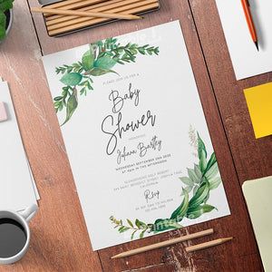 Green Floral Baby Shower Invitation Template - Digital Download