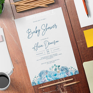 Floral Blue Baby Shower Invitation Template - Digital Download