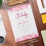 Rose Watercolor Baby Shower Invitation Template - Digital Download