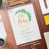 Willow Wreath Baby Shower Invitation Template - Digital Download