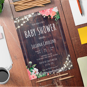 Wood Rustic Baby Shower Invitation Template - Digital Download