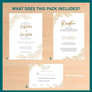 Printable Golden Elegant Wedding Invitation Suite 7 Pack - Digital Download Template