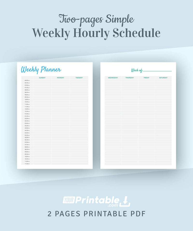 Weekly Hourly Schedule Template 2 Pages - Digital Download PDF