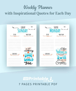 Weekly Planner with Inspirational Quotes 7 Days- Digital Download PDF