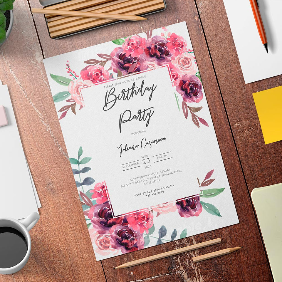Printable Burgundy Floral Women's Birthday Invitation Card - Download