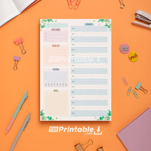 Undated Daily Planner Template Floral Style - Digital Download