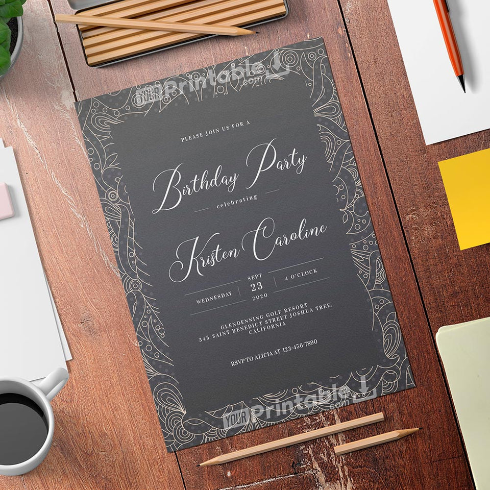 Printable Fancy Pattern Birthday Invitation Card - Digital Download