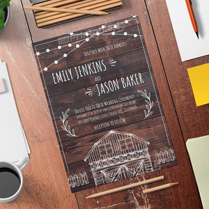Printable Rustic Wood Planks Wedding Invitation - Digital Download Template