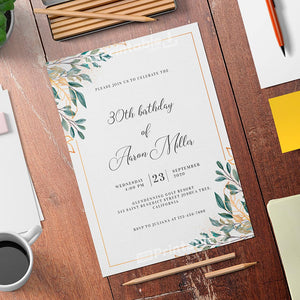 Printable Golden Leaves Birthday Invitation Card - Digital Download