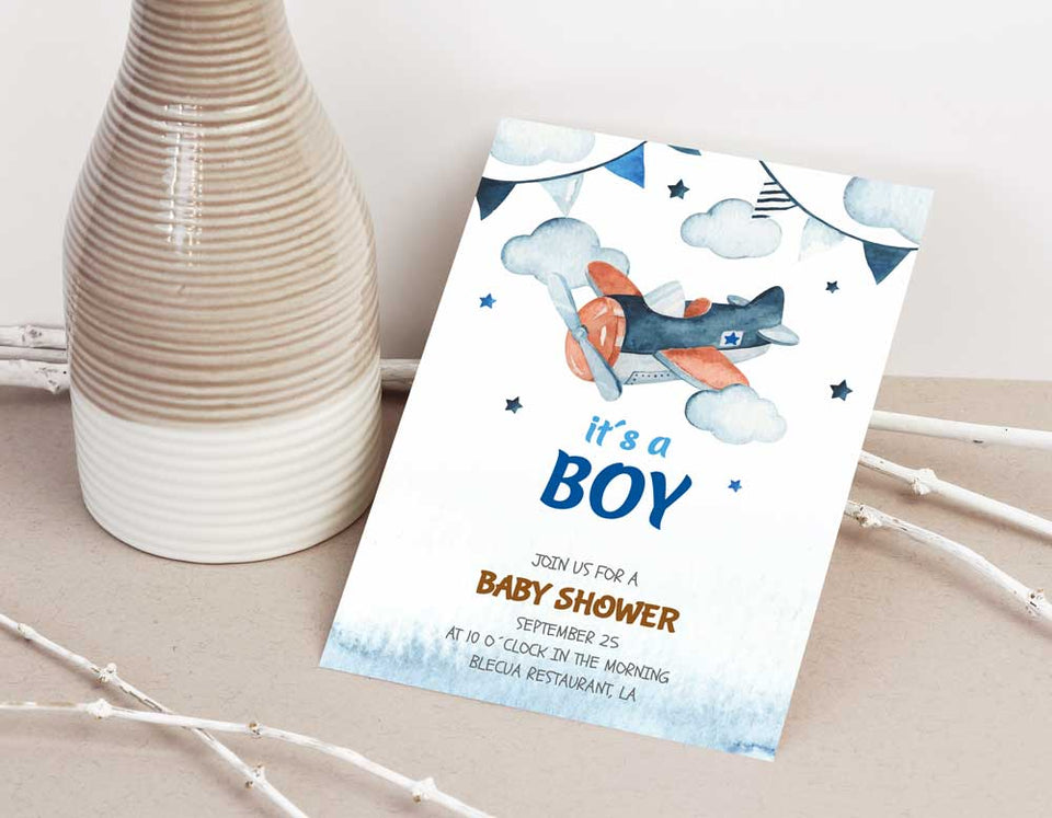 Watercolor Sky Scene Boy Baby Shower Invitation Template - Digital Download
