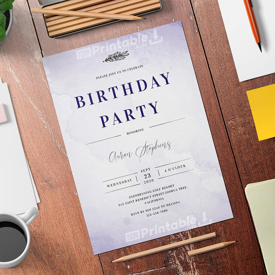 Printable Violet Watercolor Men's Birthday Invitation Card  - Digital Download