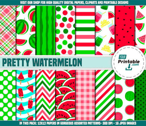 Watermelon Digital Paper Pink and Green Pattern - Digital Download