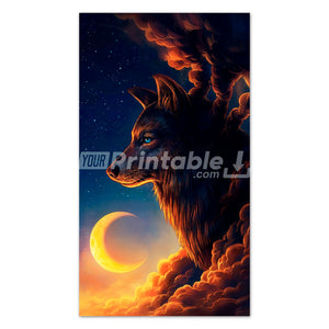 Sunset Wolf Wall Art - Digital Download