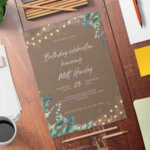 Printable String Lights Birthday Invitation Card - Digital Download