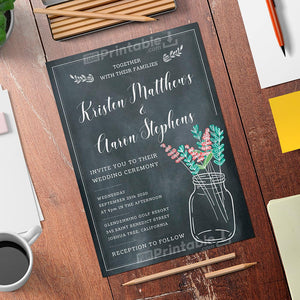 Printable Mason Jar Chalkboard Rustic Wedding Invitation