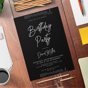 Printable Black and White Men's Birthday Invitation Card - Digital Download