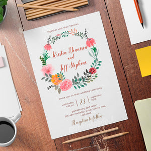 Printable Country Rustic Wedding Invitation- Digital Download Template