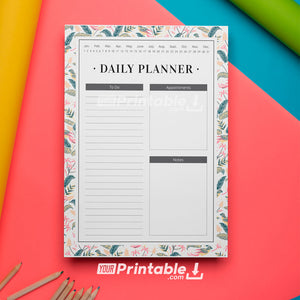 Undated Daily Planner with To-Do list Floral 2 - Digital Download