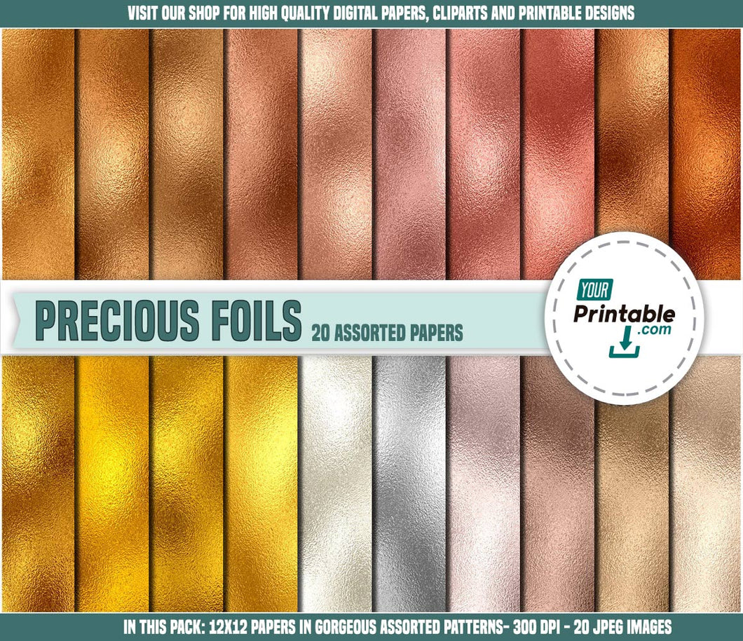 Gold Digital Paper Rainbow Metallic- Digital Download