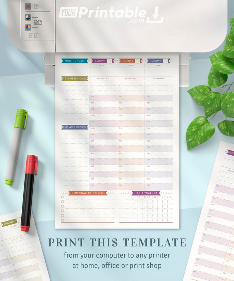 Weekly Planner Undated Casual Style - Digital Download PDF